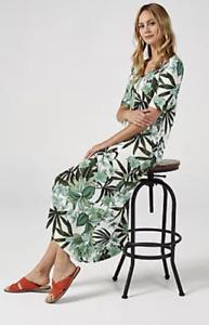 Kim & Co Printed Brazil Jersey Hi Low Hem Elbow Sleeve Dress, S, Ecru Multi BNWT