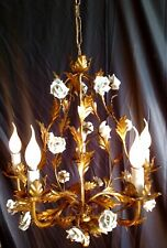 1930 FRENCH LOUIS XV STYLE GILDED CHANDELIER PORCELAIN ROSES 5 CANDLE LIGHTS