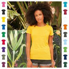 Women's Tee Fruit of the Loom 100% Cotton Plain T-Shirt Crew Neck 21 Colours