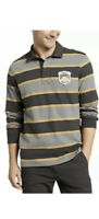 Eddie Bauer Rugby Shirt Size Large Carbon Color Men's Striped Polo