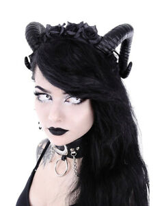 Black Gothic Demon Halloween Skull Horn Headband with Lace Cape