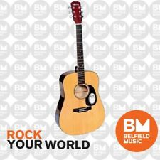 Monterey MW-101 Acoustic Guitar Left Handed Dreadnought Natural - Belfield Music