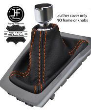 Engranaje de cuero de grano superior de Costura Naranja Polaina se ajusta Ford Focus MK3 2011-2015