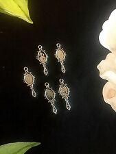 6 Tibetan silver mirror charms 25mm xmas Craft Pendant jewellery hairdresser