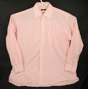 BURBERRY LONDON Pink/White Striped Cotton Dress/Casual Shirt 17.5 R