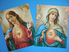 "Catholic Picture Print SET Sacred Heart of Jesus and Mary Large 11x14"" set of 2"