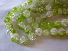 20 Crackle Glass Beads 12mm Green/Crystal #g632 Combine Postage-See Listing