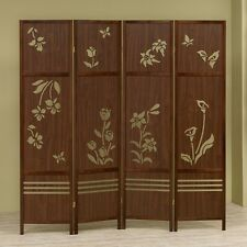 Shoji 4 Panel Room Dividers Wooden Floral Butterflies Folding Screen Carved Out