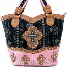 Pink Natural Trim Western Tooled Flower Rhinestone Multi Cross Handbag