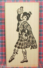 Victorian Lady Scottish Dancer Rubber Stamp Vintage Scotland Tartan #468