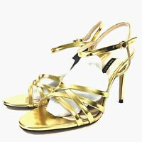 Zara Womens Strappy Slingback High Heel Open Toe Shoes Size 7.5 Gold Metallic