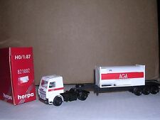 Herpa #821002 Scania Cab w/Tri-Axle Container Trailor Red & White H.O.Gauge