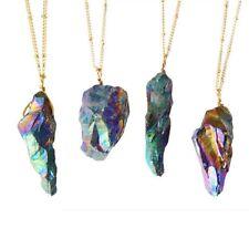 Irregular Crystal Rock Quartz Colorful Stone Natural Stone Pendant Necklace
