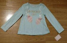 Cynthia Rowley Girl's Shirt Size M 5-6 Winter Mittens Blue Embellished NEW NWT