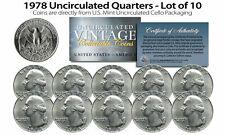 1978 US MINT QUARTERS Uncirculated Coins from U.S. Mint Cello Packs (QTY 10)