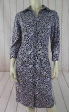 Express Design Studio Dress 12 Button Front Lavender Black White Leopard New