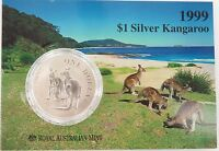 .1999 99.9% 1 OZ FROSTED SILVER UNC $1, SILVER KANGAROO.