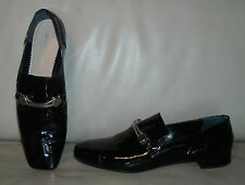 Emporio Armani Women's Patent Leather Moccasin Loafers Shoes Size 38 1/2  Black