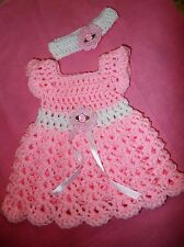 Handmade Crochet baby girl Dress, Headband , Newborn by Rocky Mountain Marty