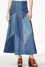 Free People Bliss Made A-Line Denim Jean Maxi Skirt SZ 4 148$
