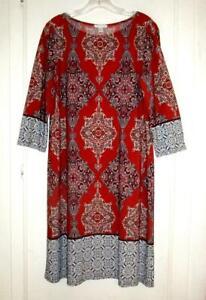 LONDON TIMES COLORFUL KNIT SHIFT DRESS Size 14