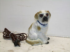 ANTIQUE ART DECO ORIGINAL PORCELAIN DOG LAMP WITH LIGHT UP EYES 1920s