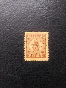 Netherlands #J1 Used, 1870 5c  Postage Due,  Scott Catalog Value $ 15.00
