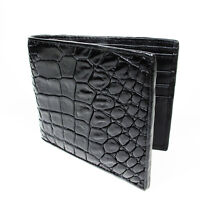 New Black Genuine Leather Crocodile Alligator Belly Skin Men's Bi-fold Wallet