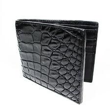 New Black Genuine Leather Crocodile Alligator Belly Skin Men's Bi-fold Wallet
