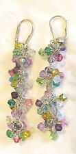 925 STERLING SILVER Faceted Multi-Color Crystal CZ? Pierced Earrings Dangle