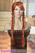 Anna Ice Queen Sister Costume Wig Pigtails Plaited Frozen Red Auburn Blend