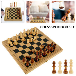 """LARGE 15"""" Vintage Wooden Chess Games Set Wood Board Hand Carved Crafted Folding"""