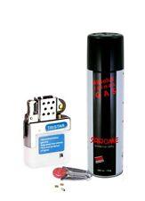 Benzin Feuerzeug Tristar Gaseinsatz mit Reibrad & Sarome Gas + Zippo Feuersteine