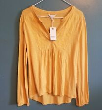 New!!! Lucky Brand  Long Sleeve Peasant Blouse Top V Neck Womens Size Small