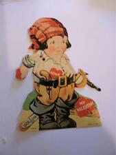 Vintage Valentine Mechanical Pirate with Gun 1940's Sweet Faced Boy in Costume