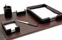 "DESK ACCESSORIES - ""ETON"" 6-PIECE BROWN LEATHER DESK SET"