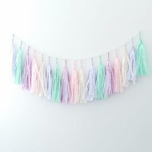 Minty pink and lilac paper tassel garland - fully assembled - party decorations