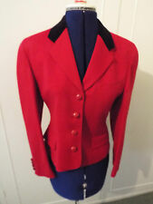 AUSTIN REED RED WOOL JACKET WITH BLACK VELVET COLLAR - SIZE 8