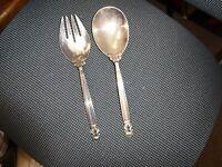 Vintage Georg Jensen Sterling Silver Serving Spoon & Fork, Acorn