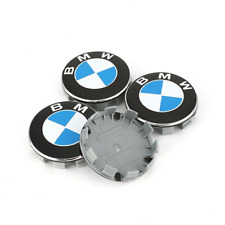 4 x 68mm BMW Alloy Wheel Centre Hub Caps badges 1 3 5 7 E F M X Z Series Blue