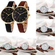 Fashion Women Casual Checkers Faux Leather Numbers Quartz Analog Wrist Watches