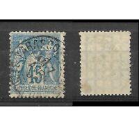 Timbre FRANCE N° 101 15c bleu SAGE type II 1892 Obli.Tarascon Papier quadrillé 9