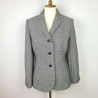 Vintage Ann Taylor Black White Houndstooth Wool Blazer Size 14P