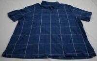 Men's XL George Button Up Short Sleeve Pullover Blue Shirt