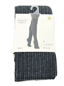 A New Day Ribbed Textured Footed Sweater Tights M/L Charcoal Gray NEW Med Large