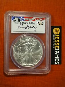 1996 $1 AMERICAN SILVER EAGLE PCGS MS69 EDMUND MOY HAND SIGNED FLAG LABEL