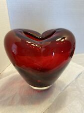 Ruby Red Glass Heart Shaped Vase Heavy  Vase Polished Base Unique    Look