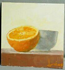 Vintage Modern Painting Still Life Oil Painting ORANGE Sliced Fruit Bowl MINI