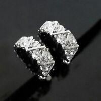 Xmas Clip On Rhinestone Crystal Half Hoop Huggie Stud Silver Plated Earrings