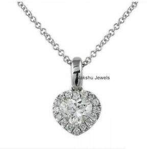 1Ct Heart Cut White Moissanite Halo Pendant In Solid 14K White Gold